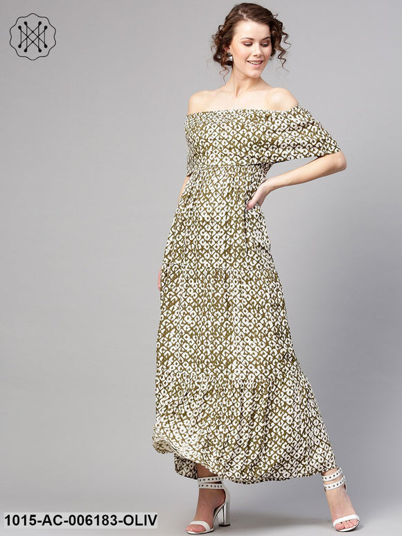 Olive Geo Print Off Shoulder Tiered Maxi
