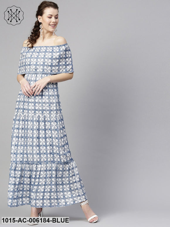 Blue Geo Print Off Shoulder Tiered Maxi