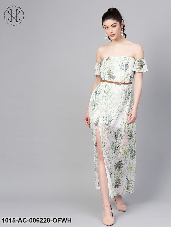 Off-White Floral Off Shoulder Belted Maxi