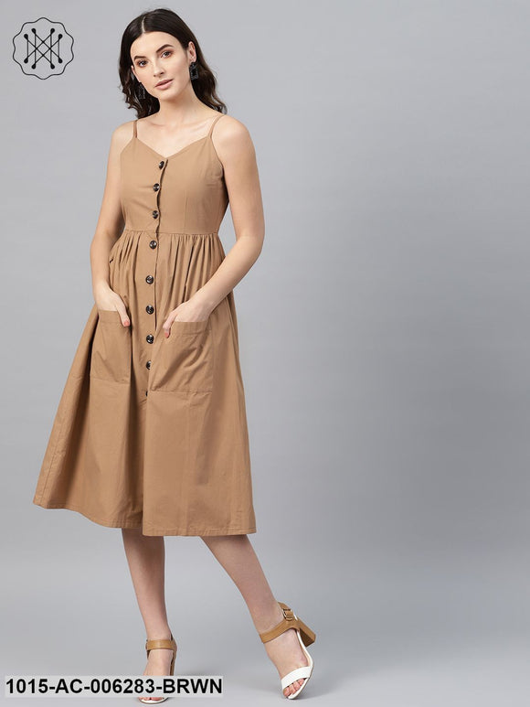 Brown Front Open Strappy Dress