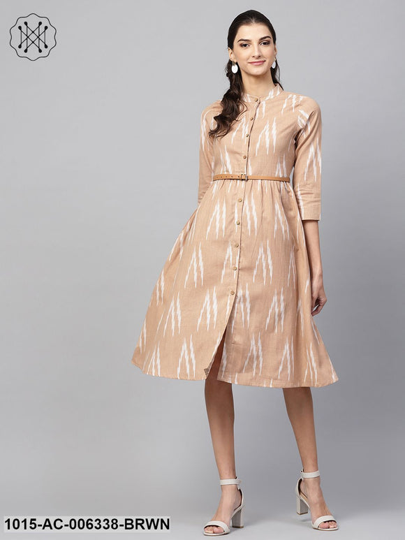 Brown Ikat Front Open Belted Dress
