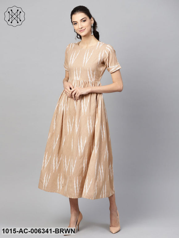 Brown Ikat Gathered Back Placket Dress