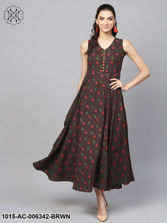 Brown Ikat Sleeveless Flared Maxi