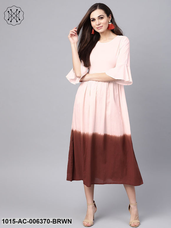 Brown & Off White Ombre Maxi
