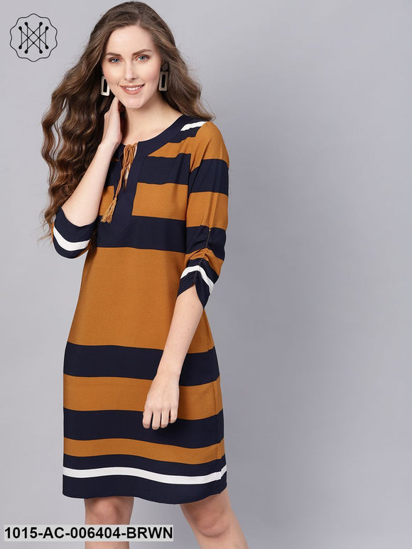 Brown Stripe Shift Dress