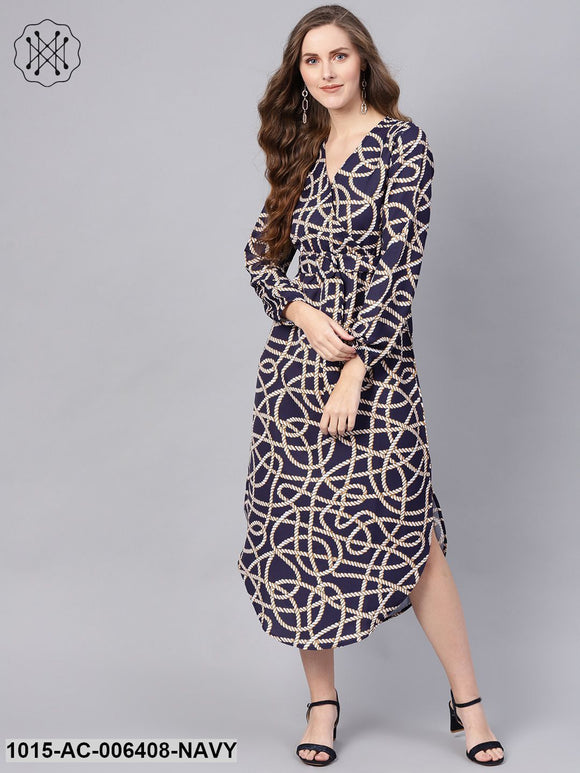 Navy Linked Print Belted Wrap Dress