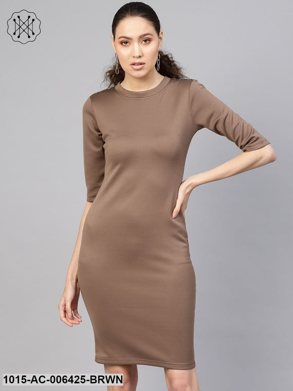 Brown Metal Trim Bodycon Dress
