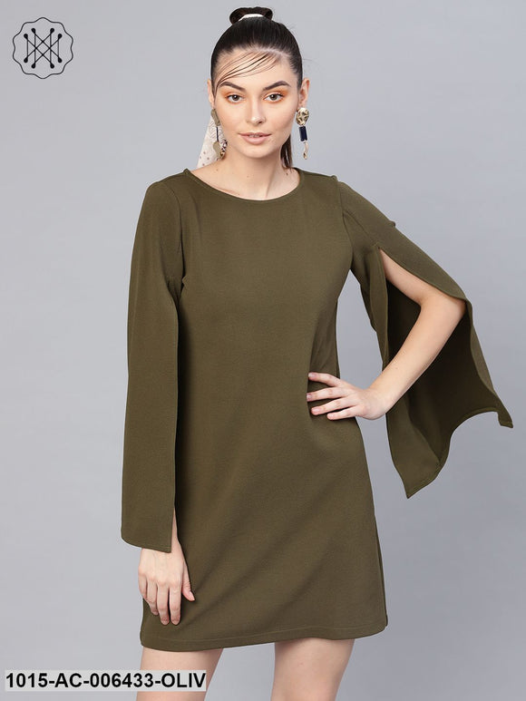 Olive Cape Sleeves Shift Dress