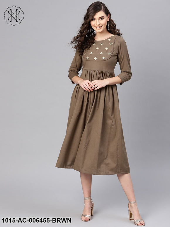 Brown Yoke Embroidered Gathered Dress