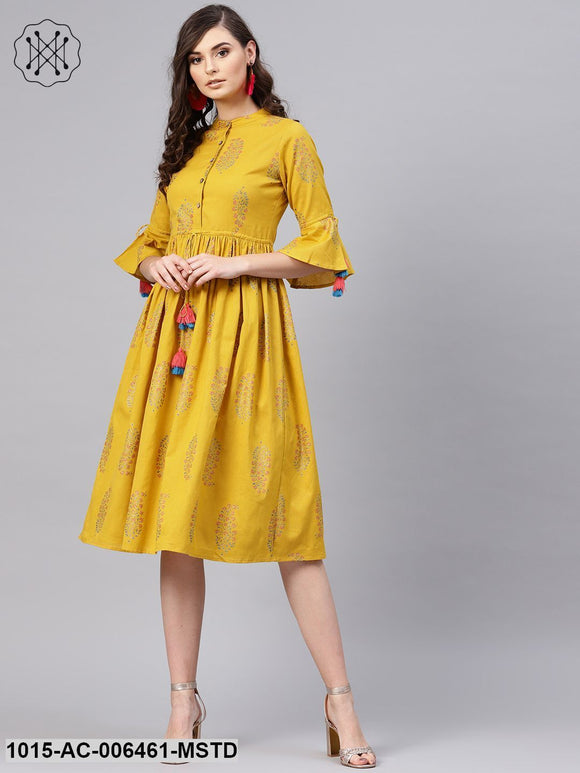 Mustard Paisely Drawstring Dress