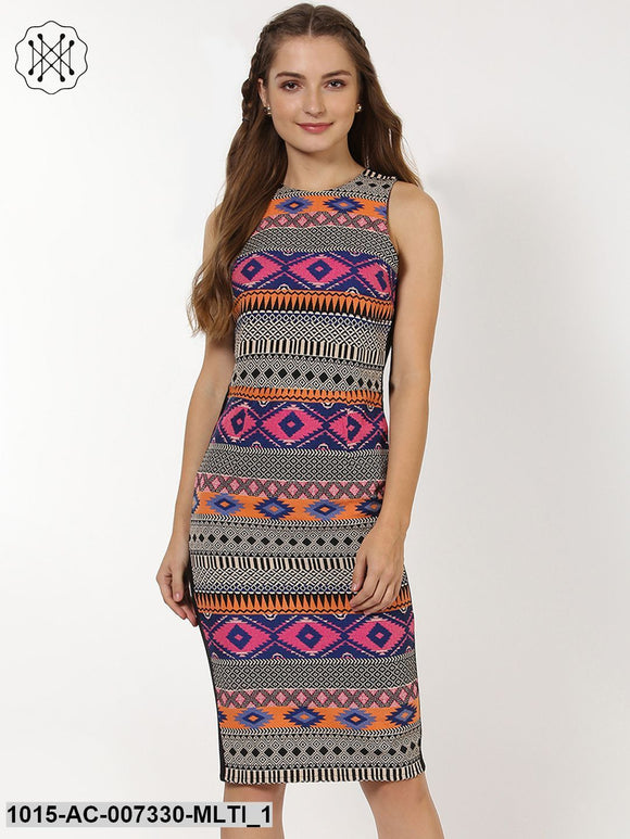 Multicolored Jacquard Bodycon Dress