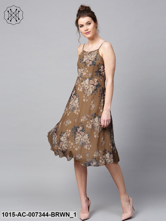 Brown Floral Midi Strap Dress