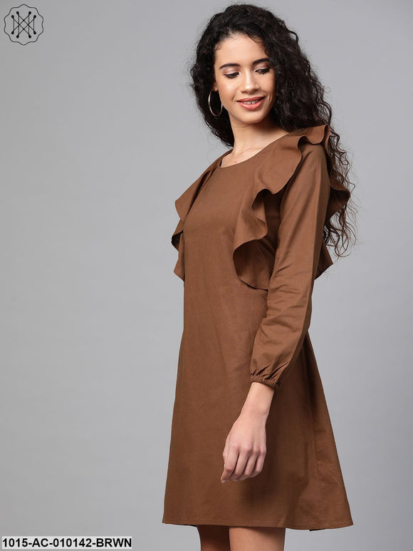 Brown Frill Shift Dress