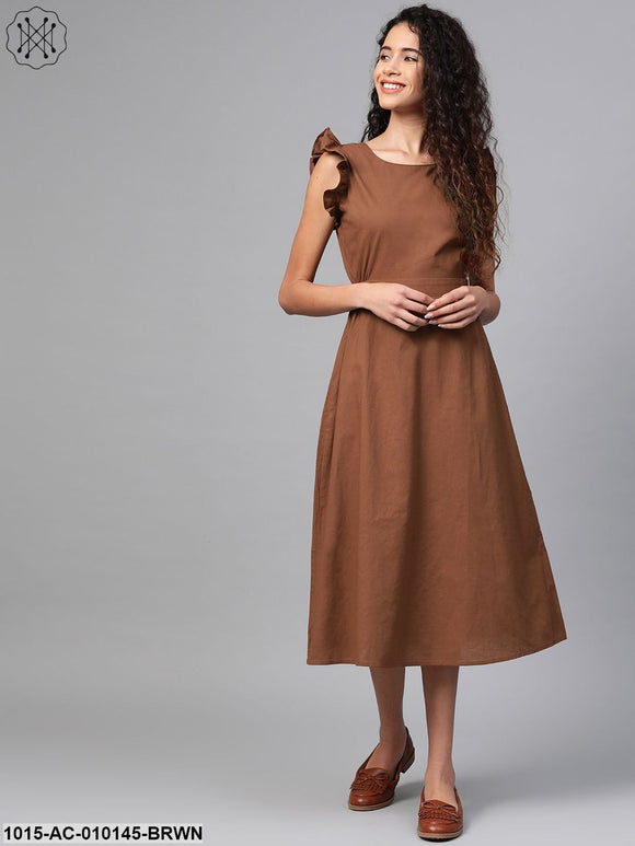 Brown Back Cutout Dress