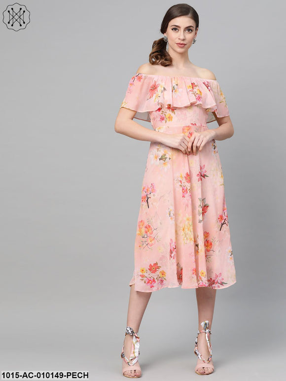 Peach Floral Off Shoulder Midi Dress