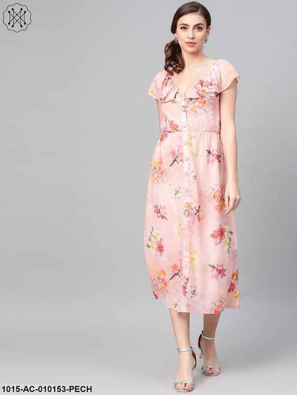 Peach Floral Front Button Frill Dress