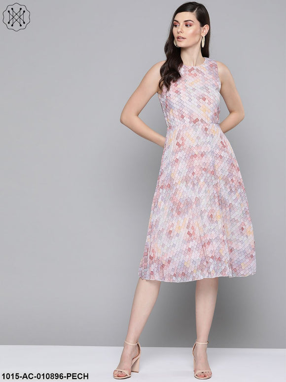 Peach Tile Print Pleated Midi Dress