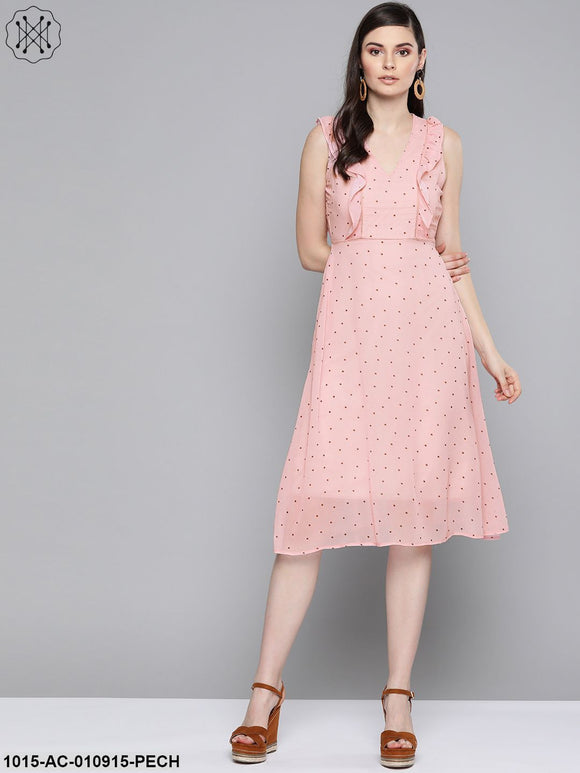 Pink Polka Dot Midi Dress
