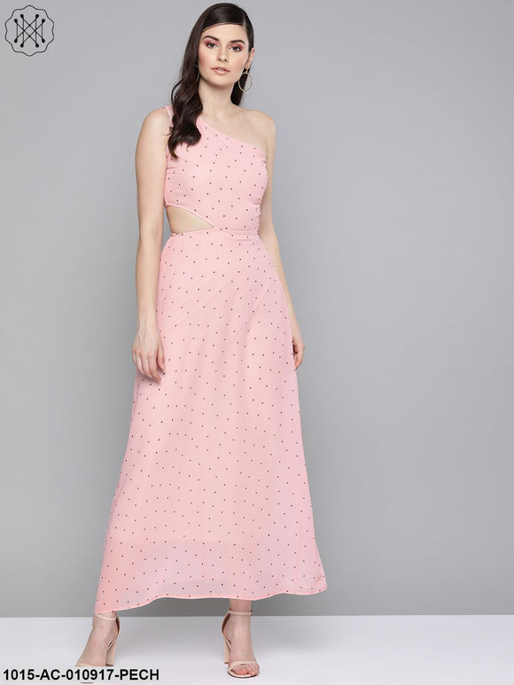 Pink Polka Dot One Shoulder Maxi