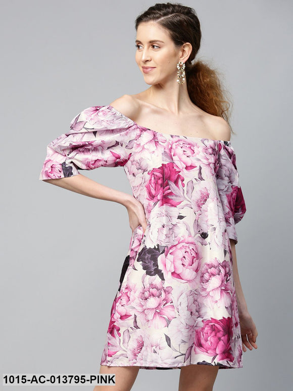 Pink Floral Puff Sleeve Shift Dress