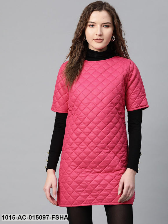 Fuchsia Quilted Shift Dress