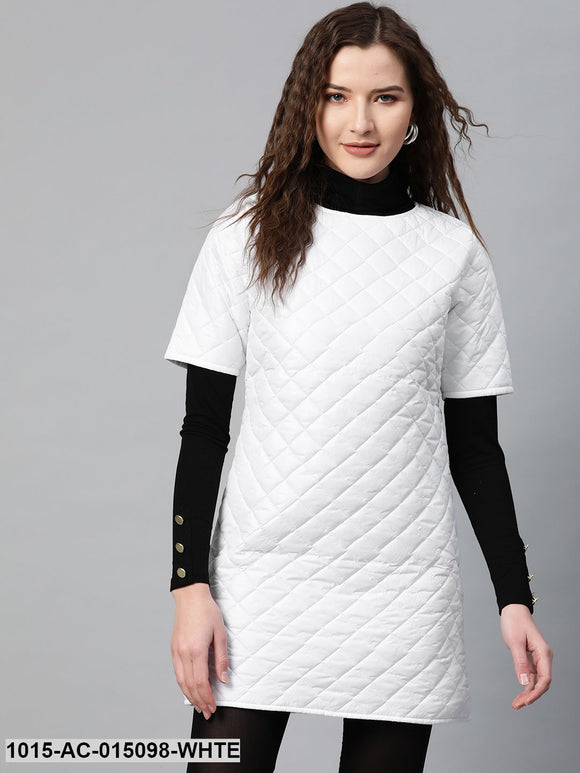 White Quilted Shift Dress