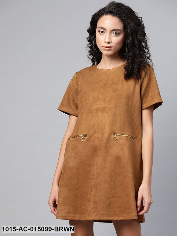 Brown Suede A-line Dress