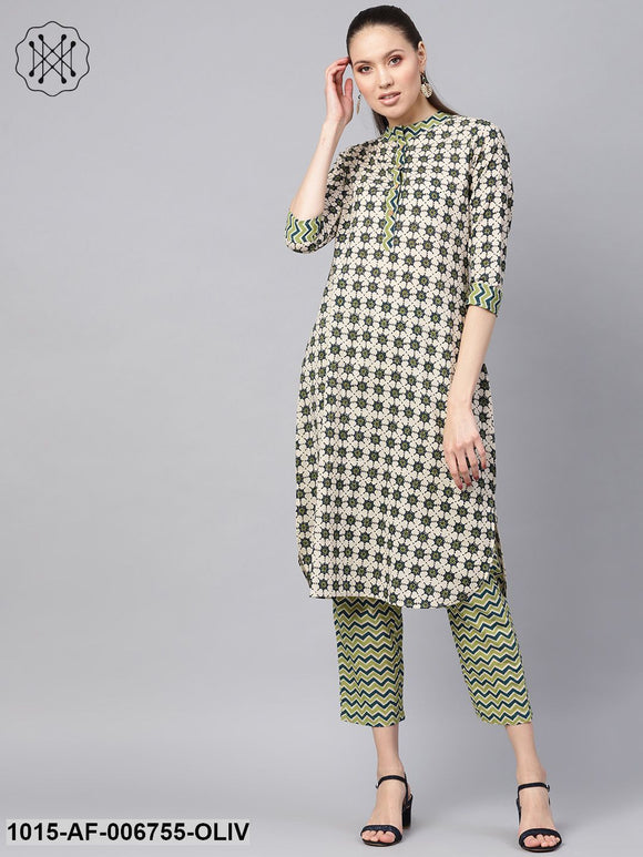 Olive Floral Kurta With Olive Chevron Pants