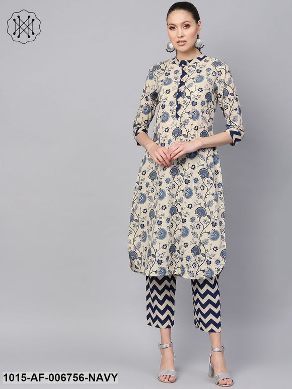 Navy Paisley Kurta With Navy Chevron Pants