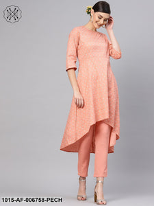Peach Foil High Low Kurta With Peach Pants