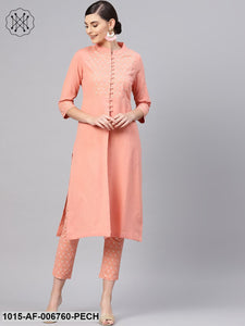 Peach Front Yoke Kurta With Peach Printed Pants