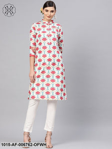 Off White Floral Straight Kurta With Off White Pants