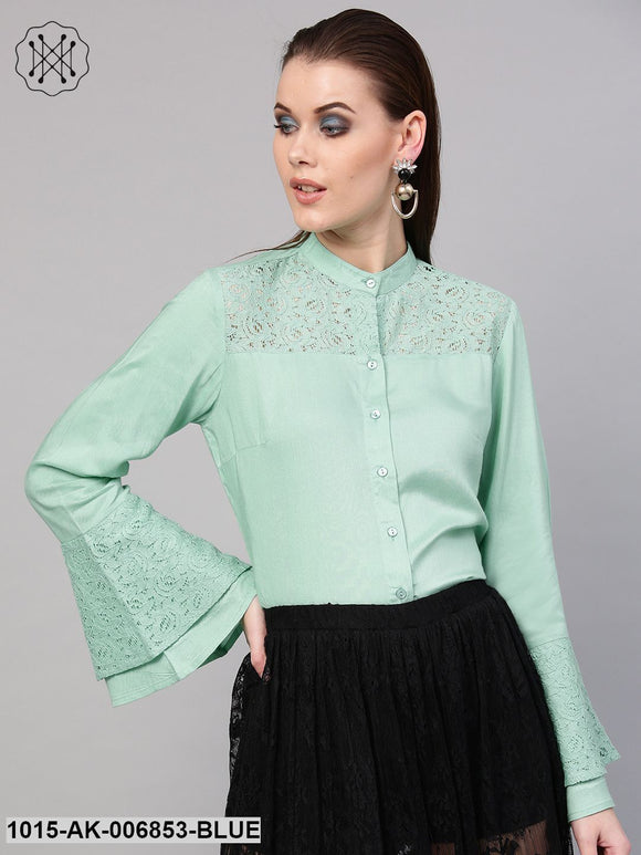 Mint Blue Lace Yoke Shirt