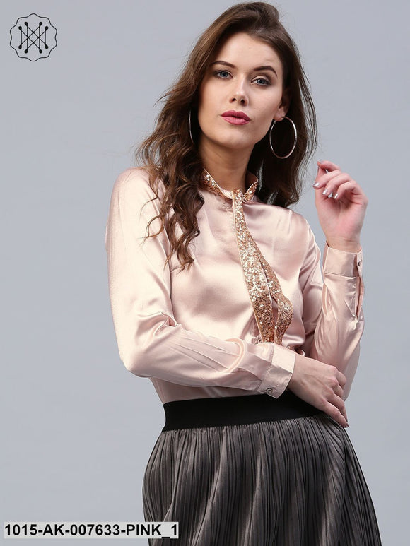 Pink Sequin Neck Tie Satin Shirt