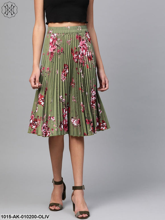 Olive Floral Short Pleated Skirt