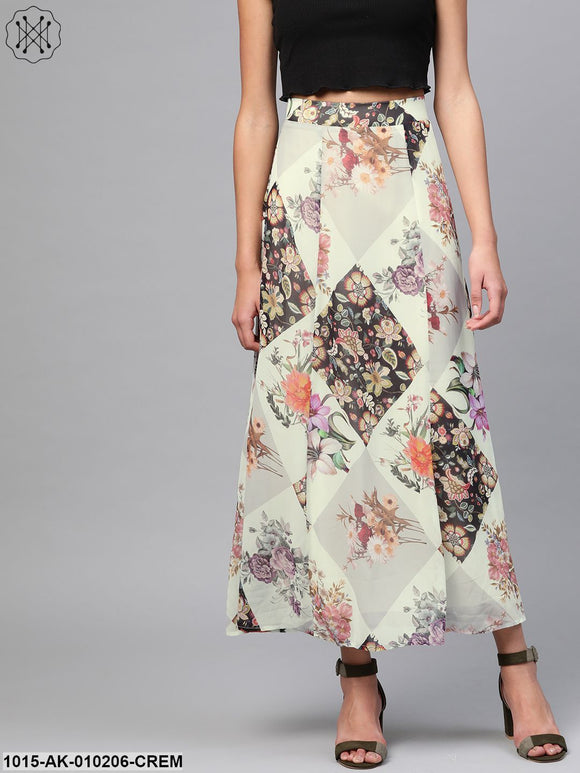 Cream And Black Floral Maxi Skirt