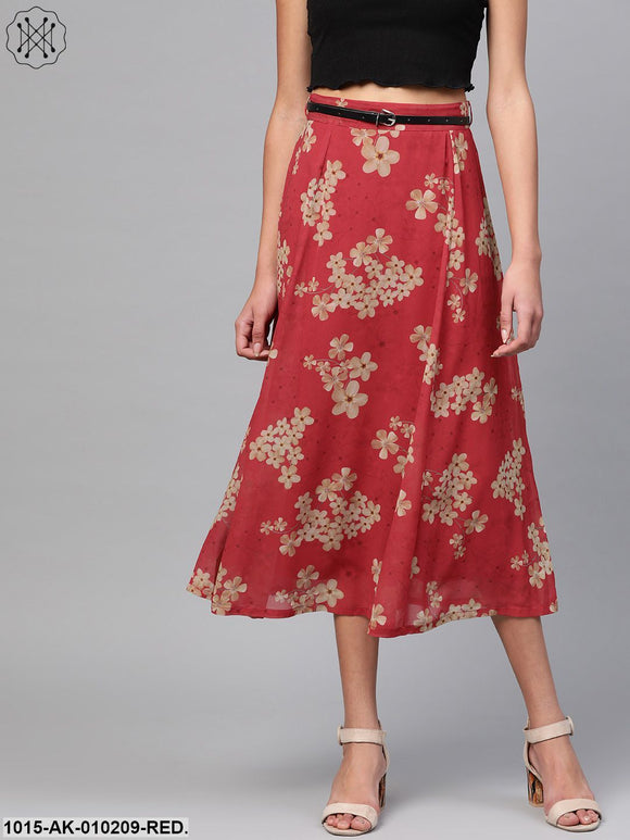 Red Floral Flared Skirt