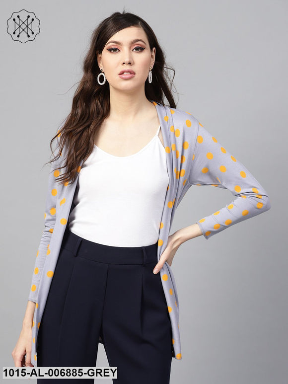 Grey & Yellow Polka Shrug
