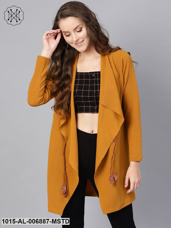 Mustard Waterfall Shrug With Pu Tie Belt