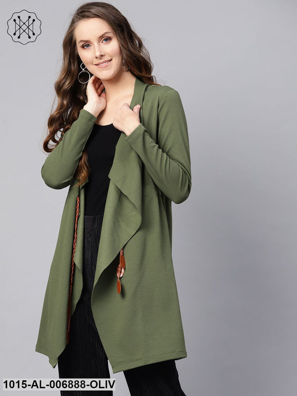Olive Waterfall Shrug With Pu Tie Belt