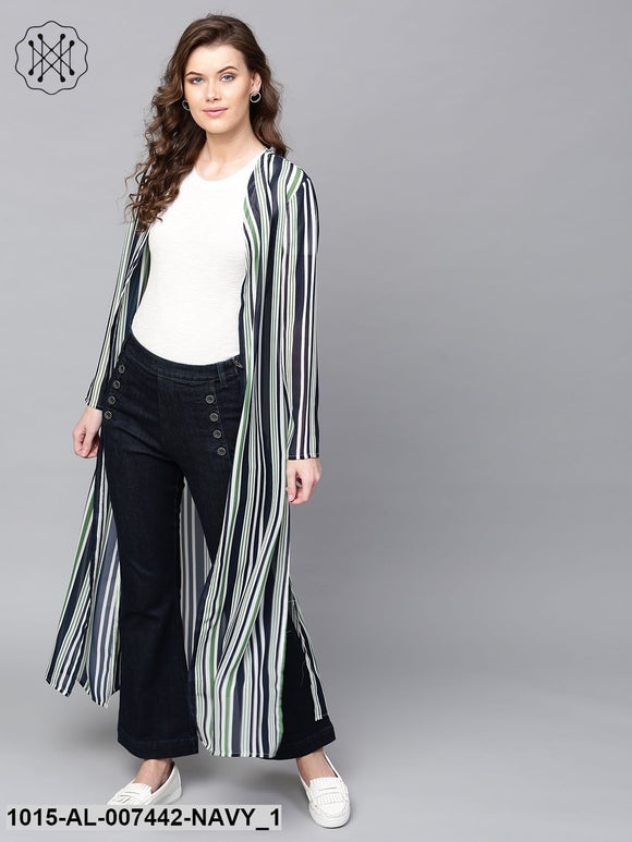 Navy & Dark Green Stripes Longline Shrug