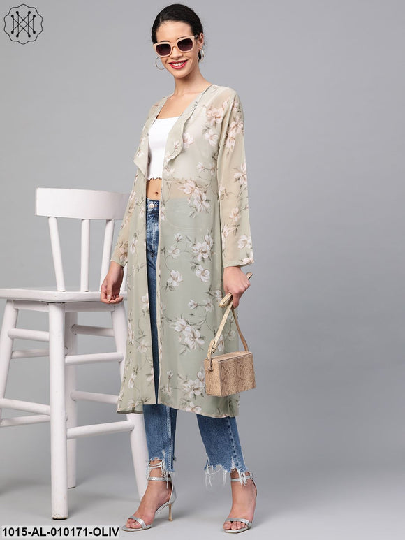 Olive Floral Back Mock Shrug