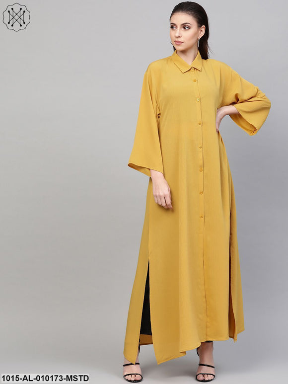 Mustard Button Placket Longline Shrug
