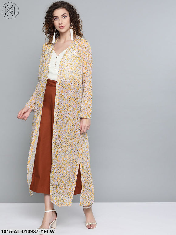 Yellow Ditsy Floral Side Slit Longline Shrug