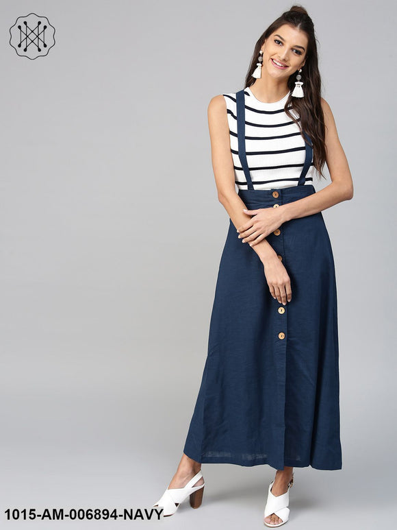 Navy Dungaree Maxi Skirt