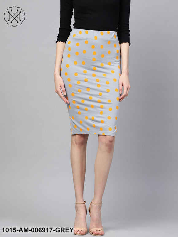 Grey Yellow Polka Pencil Skirt