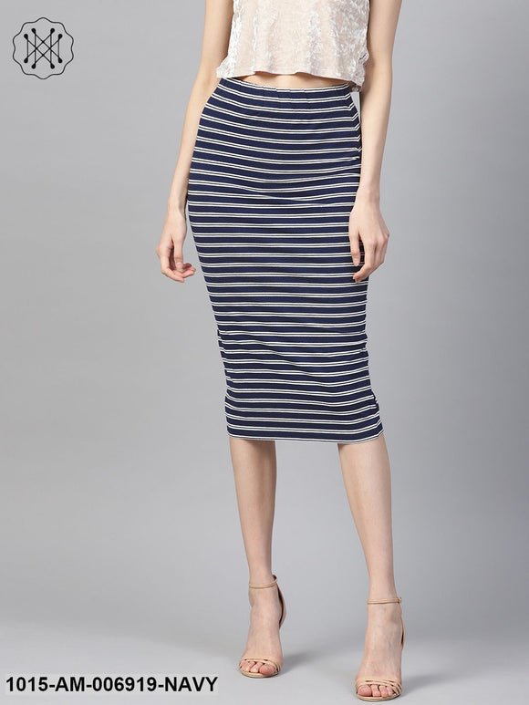 Navy White Stripe Pencil Skirt