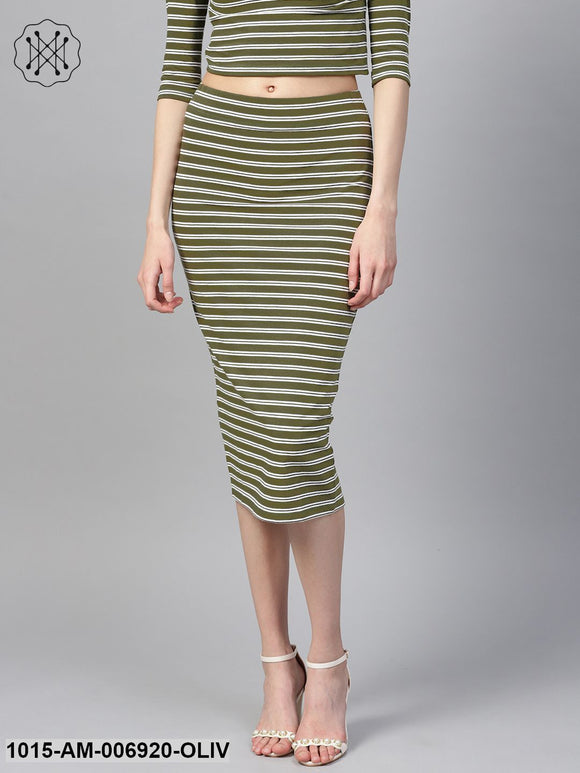 Olive White Stripe Pencil Skirt
