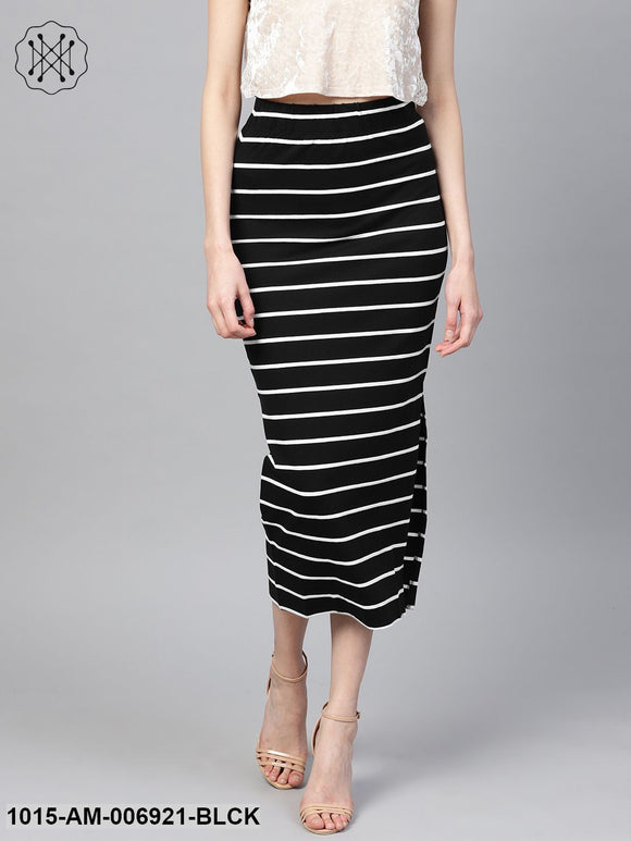 Black White Stripe Maxi Pencil Skirt