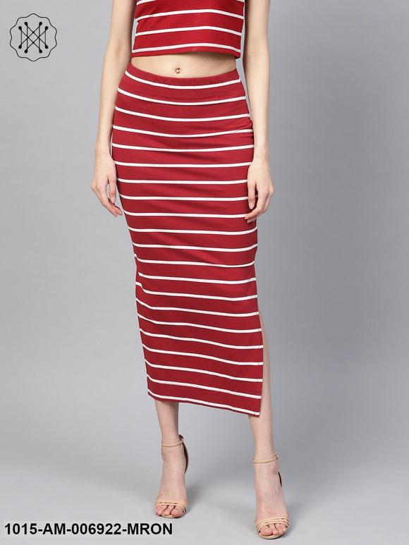 Maroon White Stripe Maxi Pencil Skirt